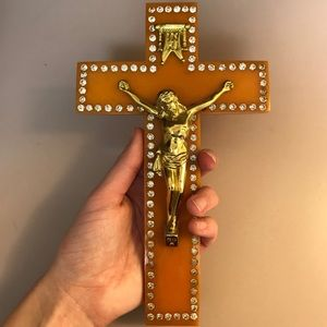 Vintage rhinestone crucifix wall hanging gold